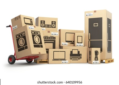 Household kitchen appliances and home electronics in carboard boxes isolated on white. E-commerce, internet online shopping and delivery concept. 3d illustration