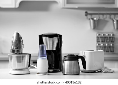 household and kitchen appliances on the table in kitchen - Kitchen Appliance