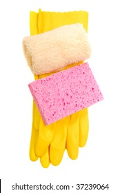 Household latex gloves with sponge and washcloth