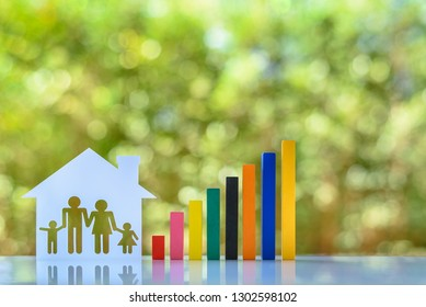 Household living cost / family trust concept : Family members, parents & child live in a house with increasing color bar graph, depicts rising in expense / cost of living and estate or inheritance tax