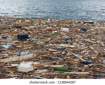 Household waste and garbage in the cold north sea water