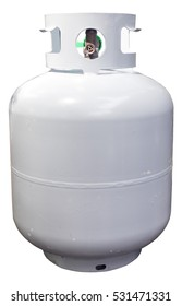 Household white propane tank. Isolated. Vertical.