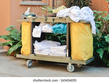 A housekeeping trolley at a tropical resort