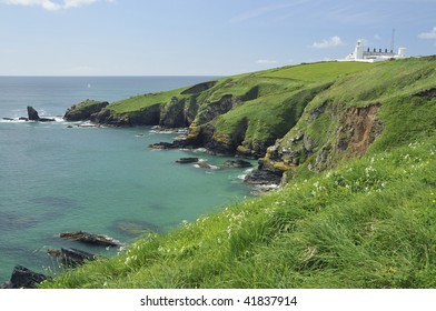 Housel Bay and Lizard Lighthouse and Lion's Den, Lizard Point, Cornwall Viewed from Pen Olver