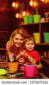 Houseplant concept. Child and mother spraying houseplant with water. Little son help mother with houseplant. Houseplant care.