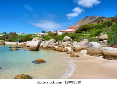 Houses above beach. Shot in the Boulders Beach Nature Reserve, near Cape Town, Western Cape, South Africa.