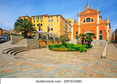 Houses and Ajaccio Cathedral (of Our Lady of the Assumption, built between 1577 and 1593), Ajaccio, South of Corsica island, France