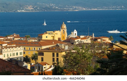 The houses of Ajaccio  city, the capital of Southern Corsica island.