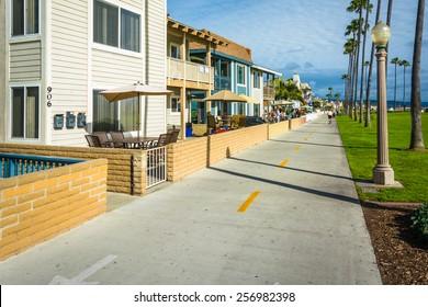 Houses along a bike path in Newport Beach, California.