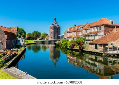 Houses along canal in Enkhuizen Netherlands