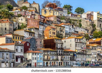 houses along the Douro river in Porto Portugal