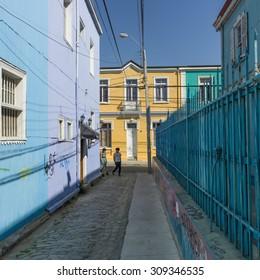 Houses along a street, Valparaiso, Chile