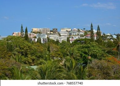 Houses and aprtments on a hill overlooking the Noumea Beach, New Caledonia.