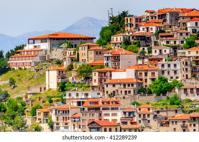 Houses of Arachova, Greece.  A village on the green slopes of Parnassus Mountains, Greece