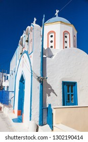 Houses and architecture in white and blue on Santorin, Greece