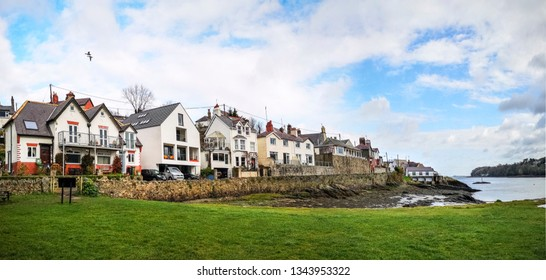 The houses at the base of the famous Menai suspension bridge over the Menai Straights between Wales and Anglesey