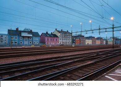 Houses behind railway station at dusk in Karlstad, sweden