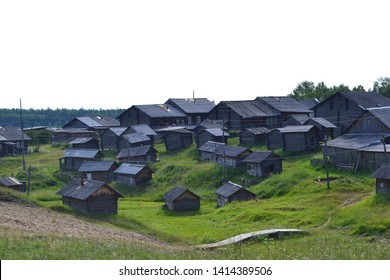 Houses and buildings in the Russian village. Komi republic