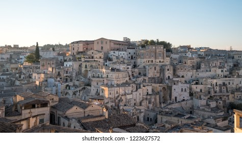 Houses built into the rock in the cave city of Matera (Sassi di Matera), Basilicata Italy. Matera has been designated European Capital of Culture for 2019.