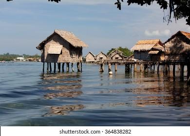 Houses built on artificial islands in the Lau Lagoon, Malaita Province, Solomon Islands