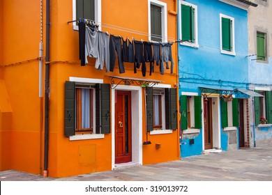 Houses of Burano an island of the main island of Venice, Italy, Europe