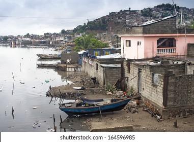 Houses by Mapou River at Cap-Haitien, Haiti