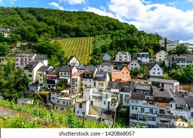 Houses by vineyard in the upper middle Rhine river  valley (Mittelrhein), nearby Rudesheim am Rhein, Lorch. Hessen, Germany. Unesco