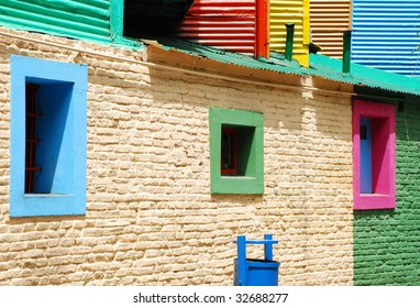 Houses in Caminito Street, in La Boca, in Buenos Aires, Argentina