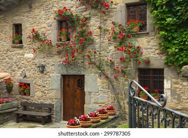 houses in  catalan village.  Rupit i Pruit, Spain