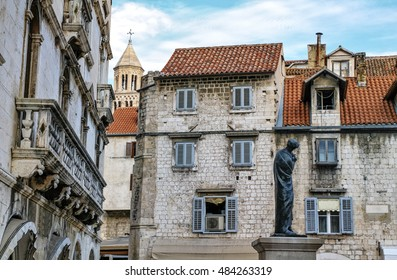 Houses and Cathedral of Saint Domnius, Dujam, Duje, bell tower Old town by day, Split, Croatia