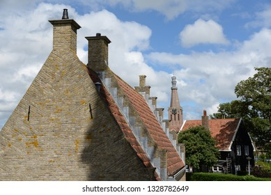 Houses and church in Medemblik, Holland