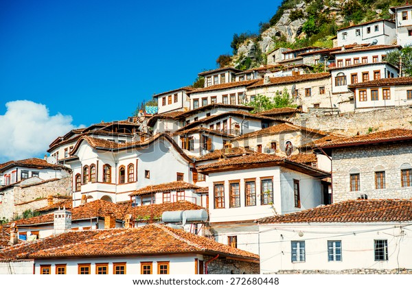 Houses in city of Berat in Albania, World Heritage Site by UNESCO
