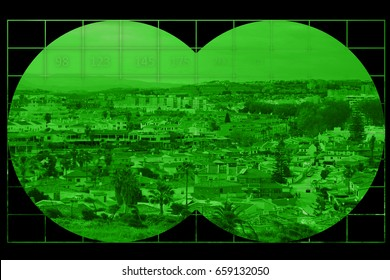 Houses in city - view through night vision