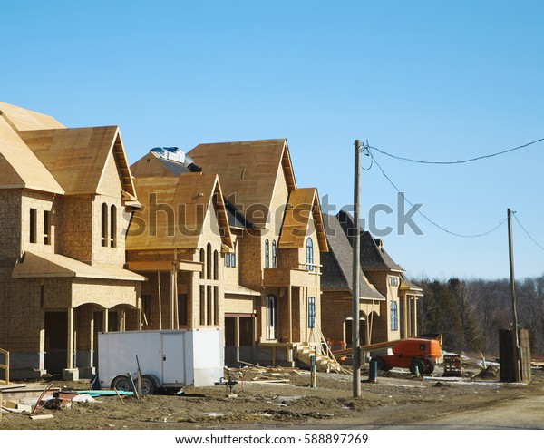 Houses construction. New residential construction