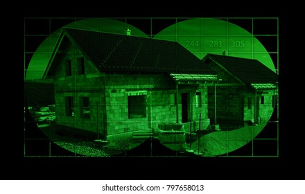 Houses in construction - view through night vision