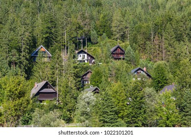 Houses, cottages in the mountain forest, Kranjsca Gora, Slovenia
