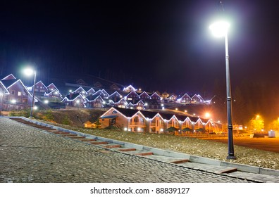 Houses decorated and lighted for christmas at night