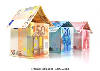 Houses with different Euro banknotes