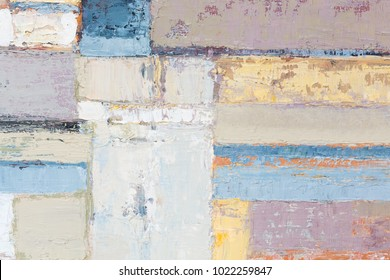 Houses differently colored. Oil painting. High resolution photo.