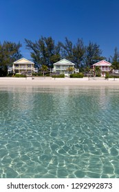 Houses in front of the beach, Alabaster Bay, Eleuthera island, Bahamas.