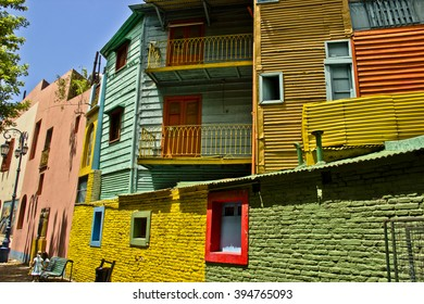 Houses full of colour, at Caminito, Buenos Aires, Argentina