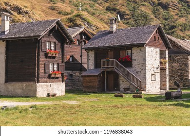 The houses with a garden in Formazza Riale alpine village, Piedmont, Italy