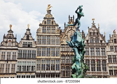 Houses of Grote-Markt and fountains, center of Antwerpen, Belgium