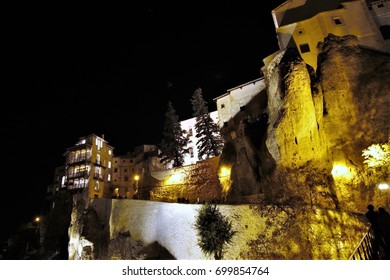 Houses hanging and Illuminated cliffs, Night photographs of buildings and monuments of the city of Cuenca, spain,