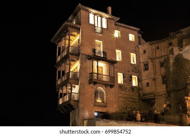 Houses hanging, Night photographs of buildings and monuments of the city of Cuenca, spain,