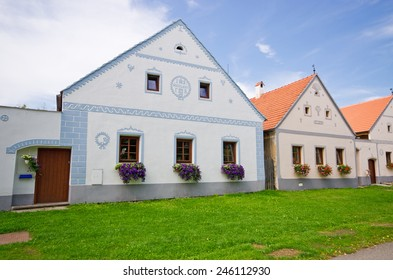 Houses in Holasovice - old Bohemian village on UNESCO heritage list