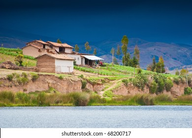 houses in lake . Huancayo, Peru