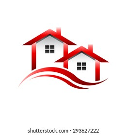 Houses  logo. Red roofs