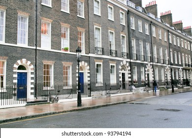 houses in London in rainy day