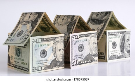 Houses made from dollar banknotes